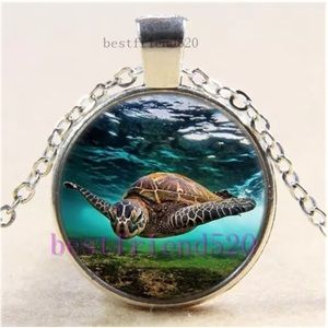 Sea Turtle in Storm Art Glass Pendant Necklace